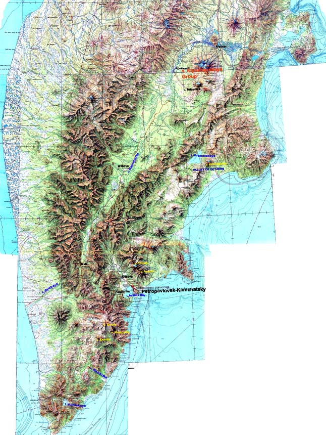 Map of Kamchatka with some points mentioned